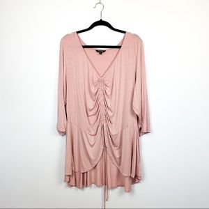 Pink Long Sleeve Top with Ruched Front & V-Neck